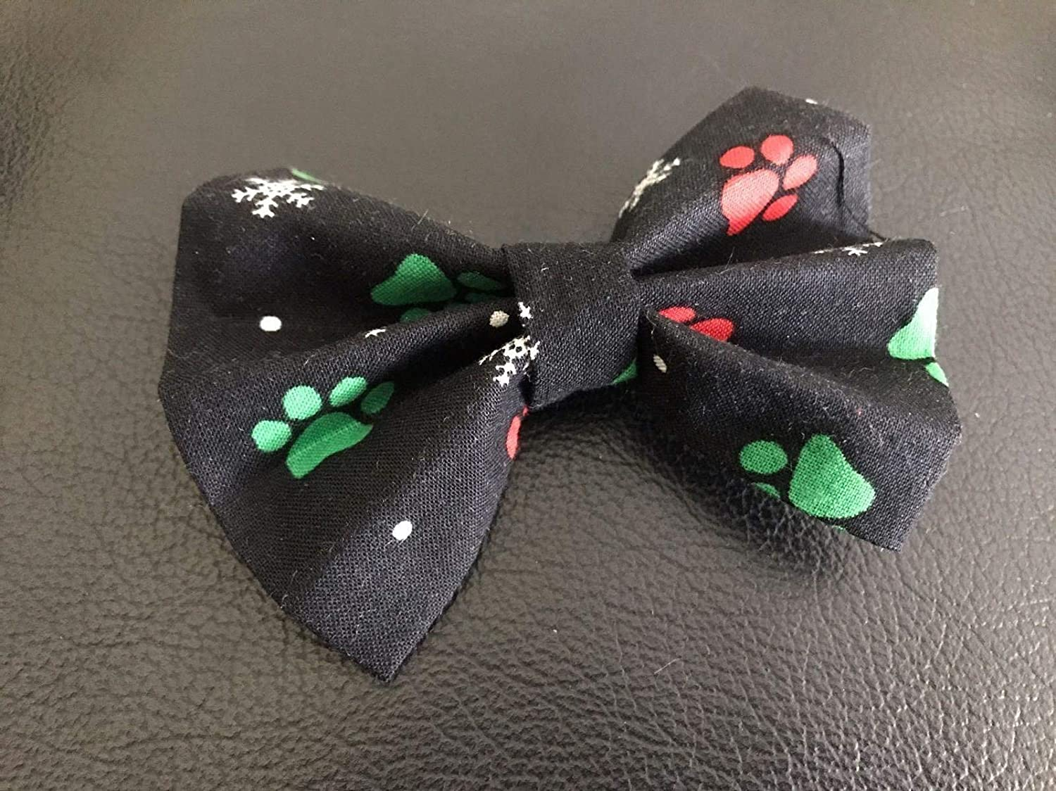 Dog Bow Tie in Black, Red and Green Christmas Paws and Snowflakes for Winter Holiday Pet Fashion - Small 4 only