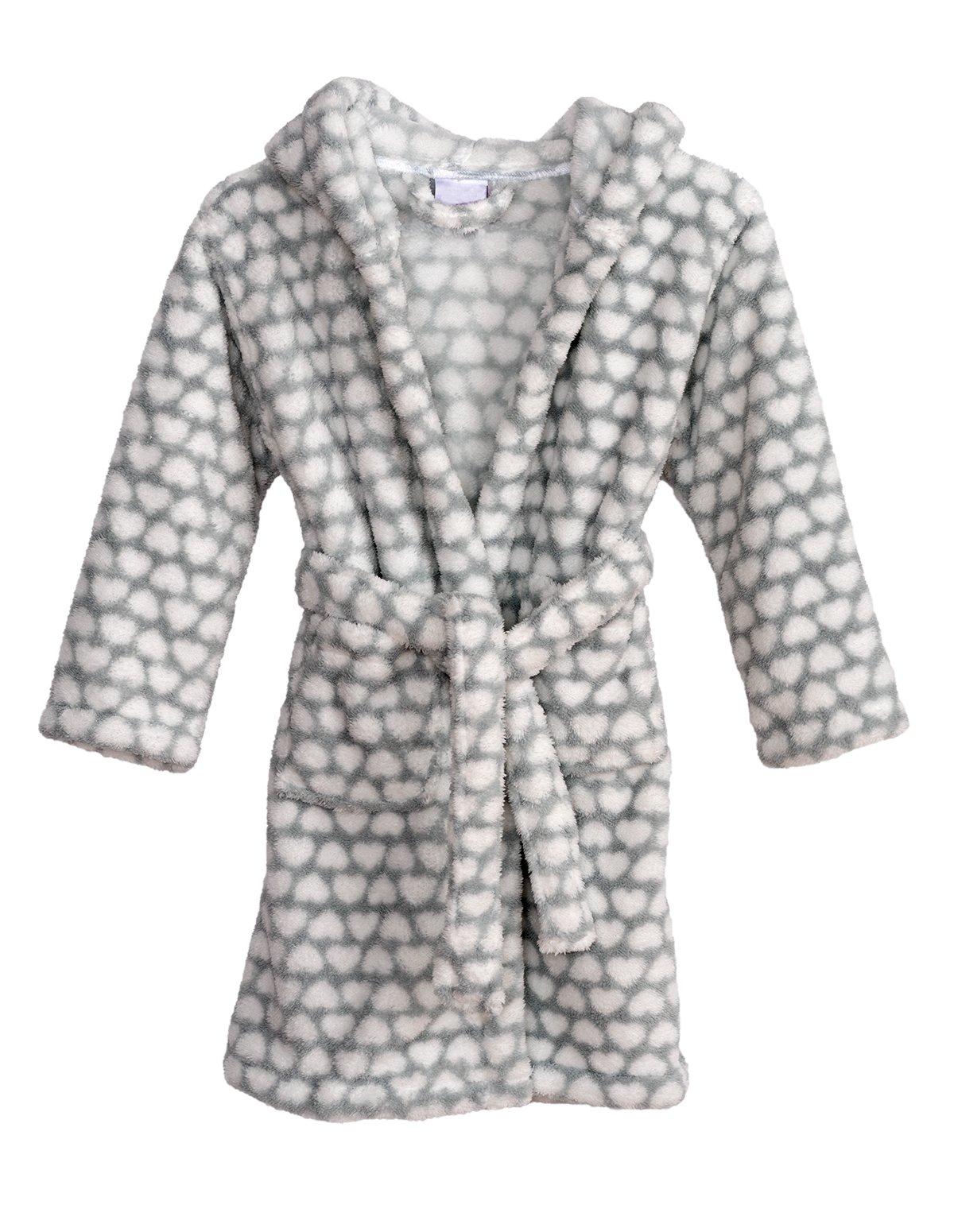 TowelSelections Big Girls' Robe, Kids Plush Hooded Fleece Bathrobe Size 14 Gray/Hearts