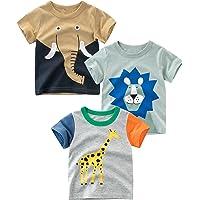 Padgene 3 Piezas de Ropa, Camiseta de Algodón de Manga Corta, Tops Estampado de Dibujos Animados, Camiseta de Cuello…