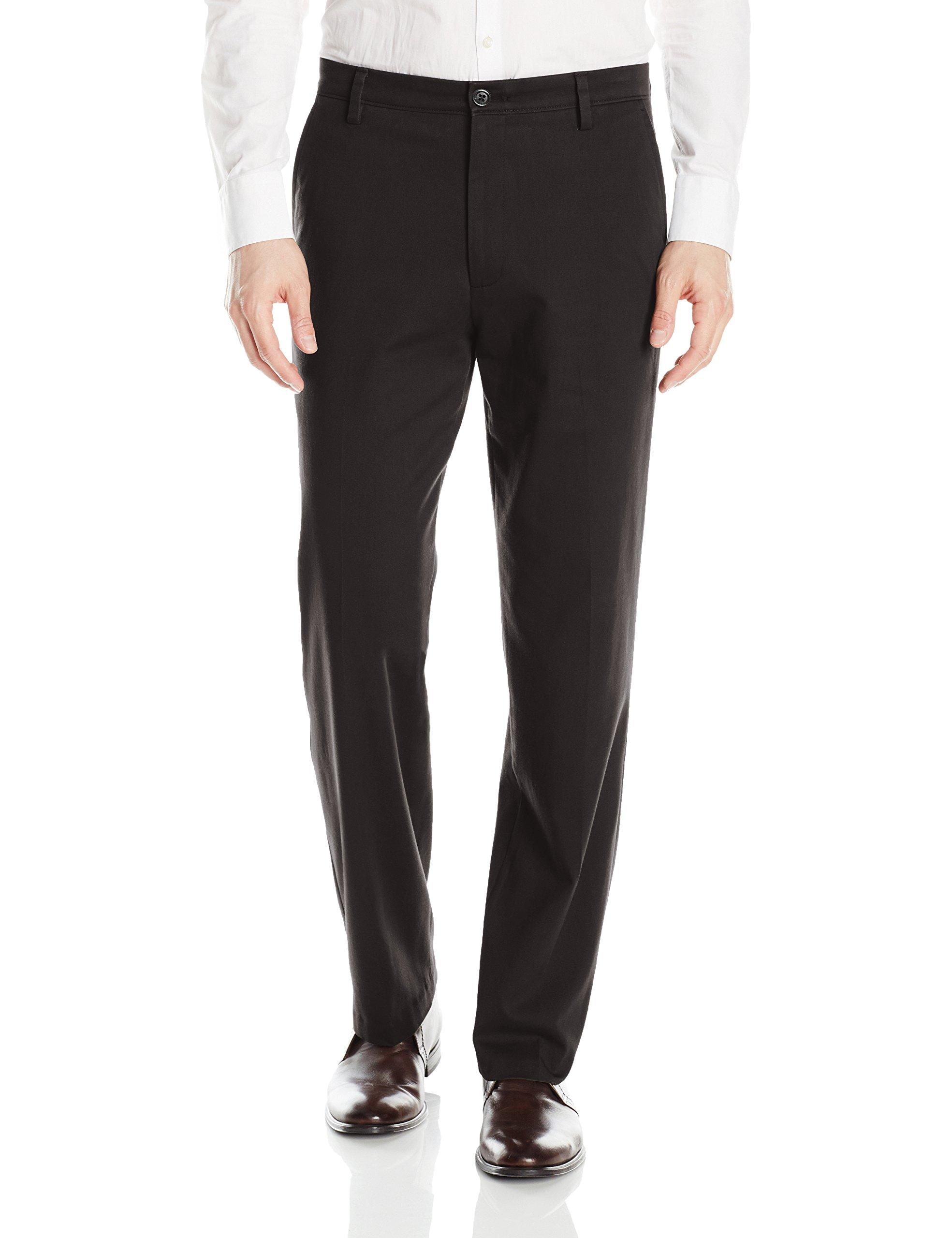 Dockers Easy Khaki D3 Classic-Fit Flat-Front Pant, Black, 40 32