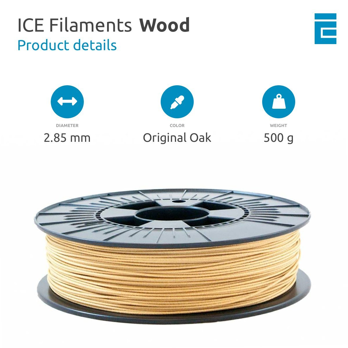ICE Filaments ICEFIL3WOO207 filamento WOOD,2.85mm, 0.5 kg ...