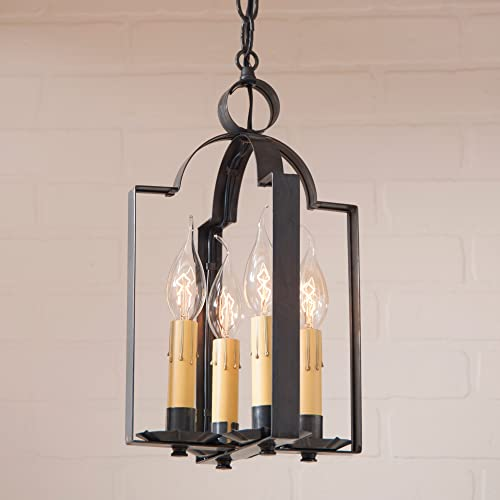 Irvin s Country Tinware 65WBT – Four Light Saddle Pendant with Blackened Tin Finish