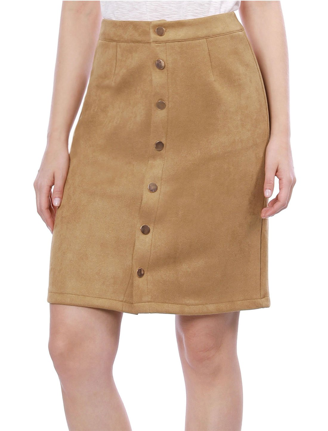 Allegra K Women's Button Front Business Straight Imitated Suede Skirt M Brown