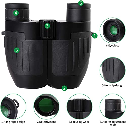 10×25 Compact Binoculars for Adults – Roof Prism Large Eyepiece Binocular for Bird Watching Hunting Concerts Outdoor Sports, Pocket Size High Powered Binocular with Low Light Night Vision, Sightseeing