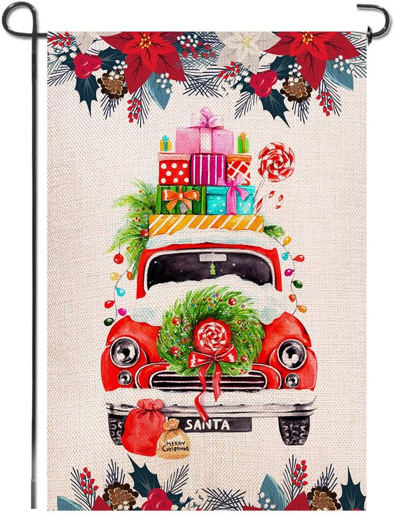 Shmbada Santa Claus Red Truck Merry Christmas Double Sided Burlap Garden Flag, Welcome Winter Holiday Outdoor Decor Decoration Small Flags for Home Yard Lawn Patio Farmhouse, 12.5 x 18.5 inch