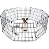 Eigenheim Pet Dog Playpen Foldable Puppy Exercise Pen Metal Portable Yard Fence for Small Dog & Travel Camping 8 Panel-24& 24