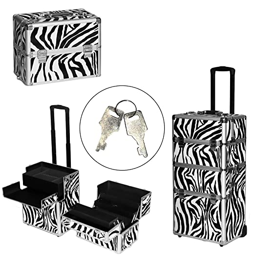 Z ZTDM 3 in 1 Rolling Makeup Train Case with Wheels & Strap,4 Keys Aluminum Cosmetic Trolley,Lockable Beauty Artist Travel Organizer