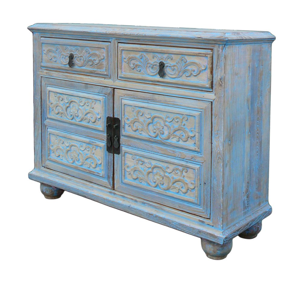 Amazon.com: Oriental Floral Shabby Chic Rustic Light Blue High ...