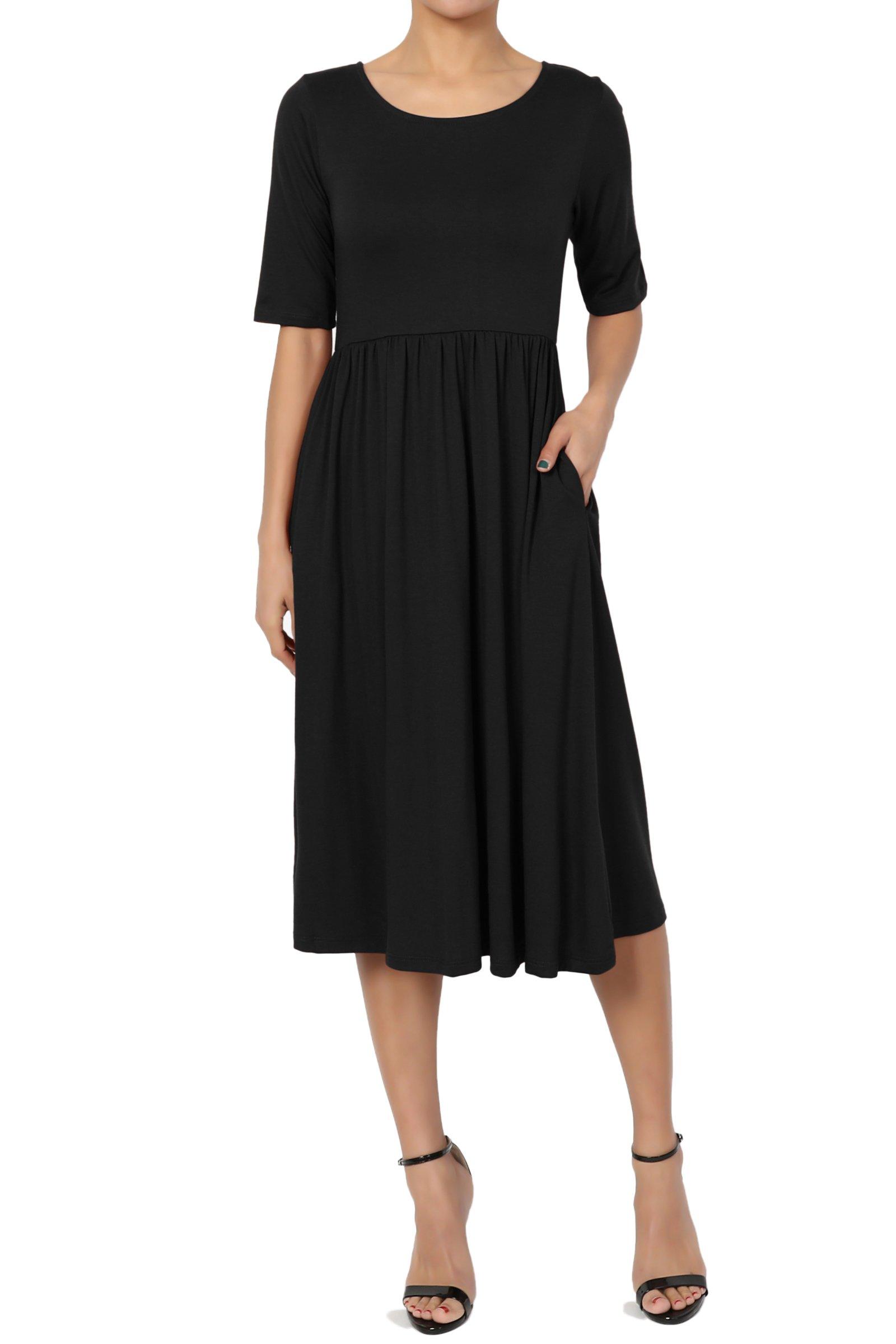 TheMogan Women's Half Sleeve Empire Waist Fit & Flare Pocket Dress Black 3XL