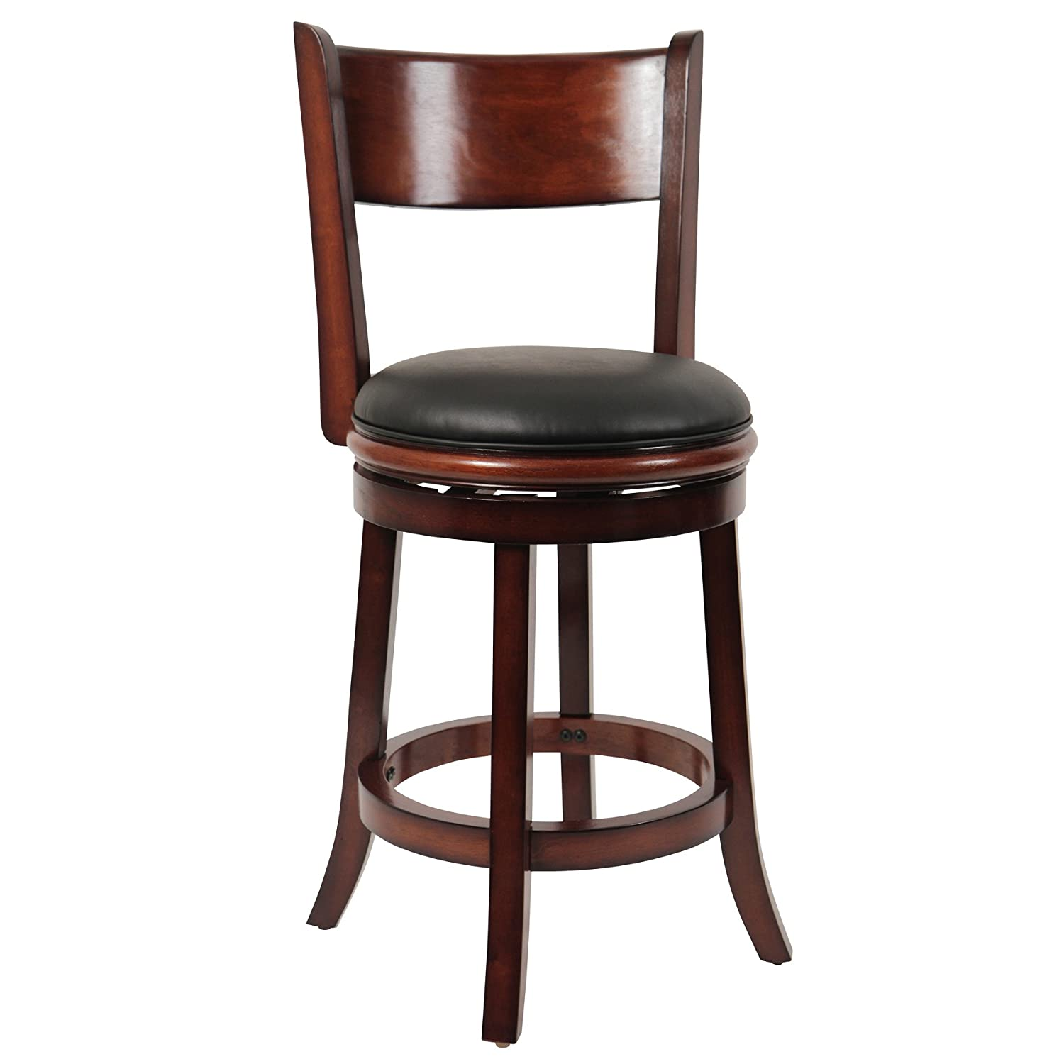 Boraam 45724 Florence Counter Height Swivel Stool, 24-Inch, Distressed Black
