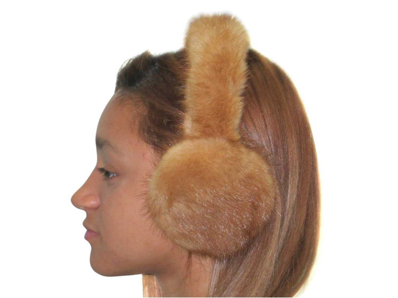 Whiskey Mink Ear Muffs w/Fur on Band