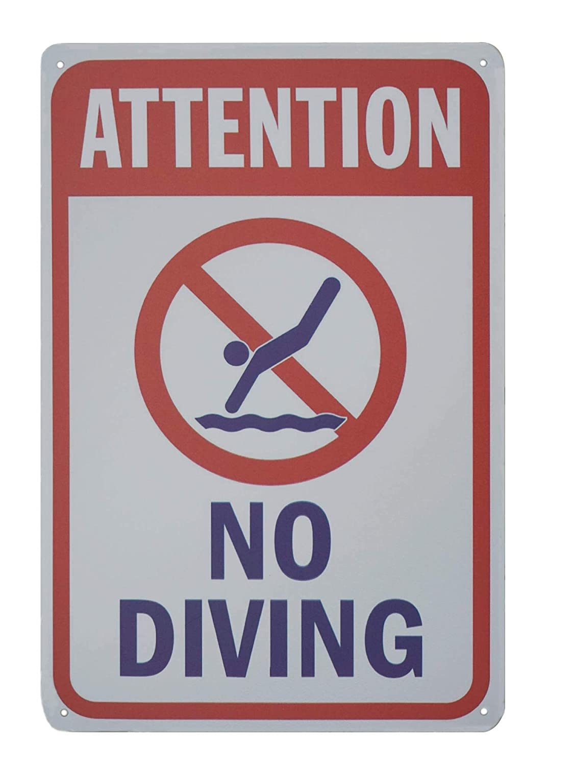 Amazon.com: Monifith Funny Safety Signs Attention No Diving ...