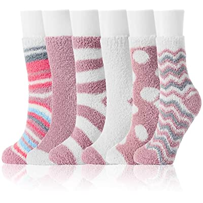 Fuzzy Socks for Women Winter Warm Soft Fluffy Socks for Home Sleeping Indoor Thick Cozy Plush Sock 4, 6 Pairs at Women's Clothing store
