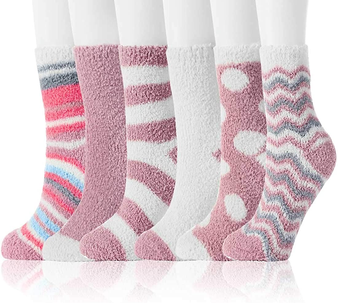 JaosWish Fuzzy Socks for Women Winter Warm Soft Fluffy Socks for Home Sleeping Indoor Thick Cozy Plush Sock 4, 6 Pairs