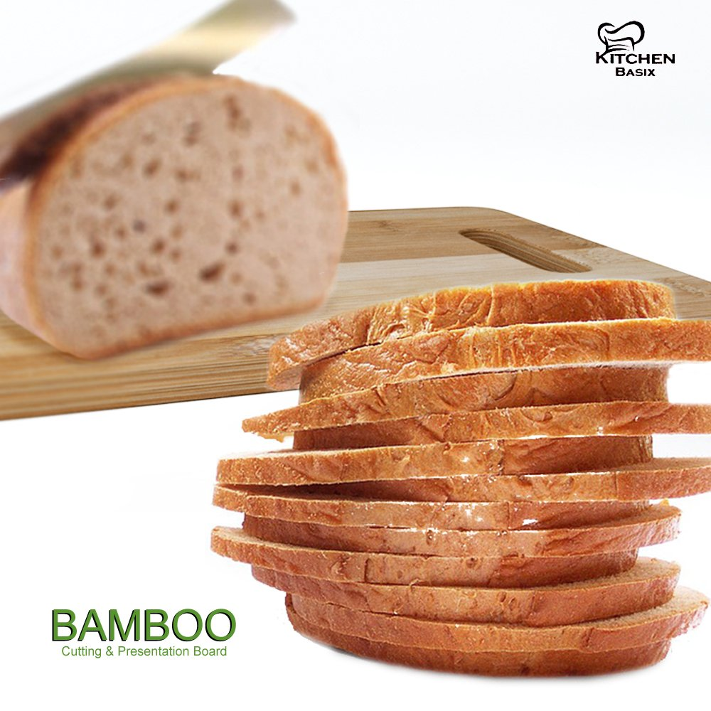 Bamboo Cutting Board 3 Piece Set, Made From Premium 100% Organic And Safe Antibacterial Wood, Newest Non-Stick Design, FDA Approved And BPA Free Kitchen Chopper Reversible Stand. Kitchen Basix by Kitchen Basix (Image #4)