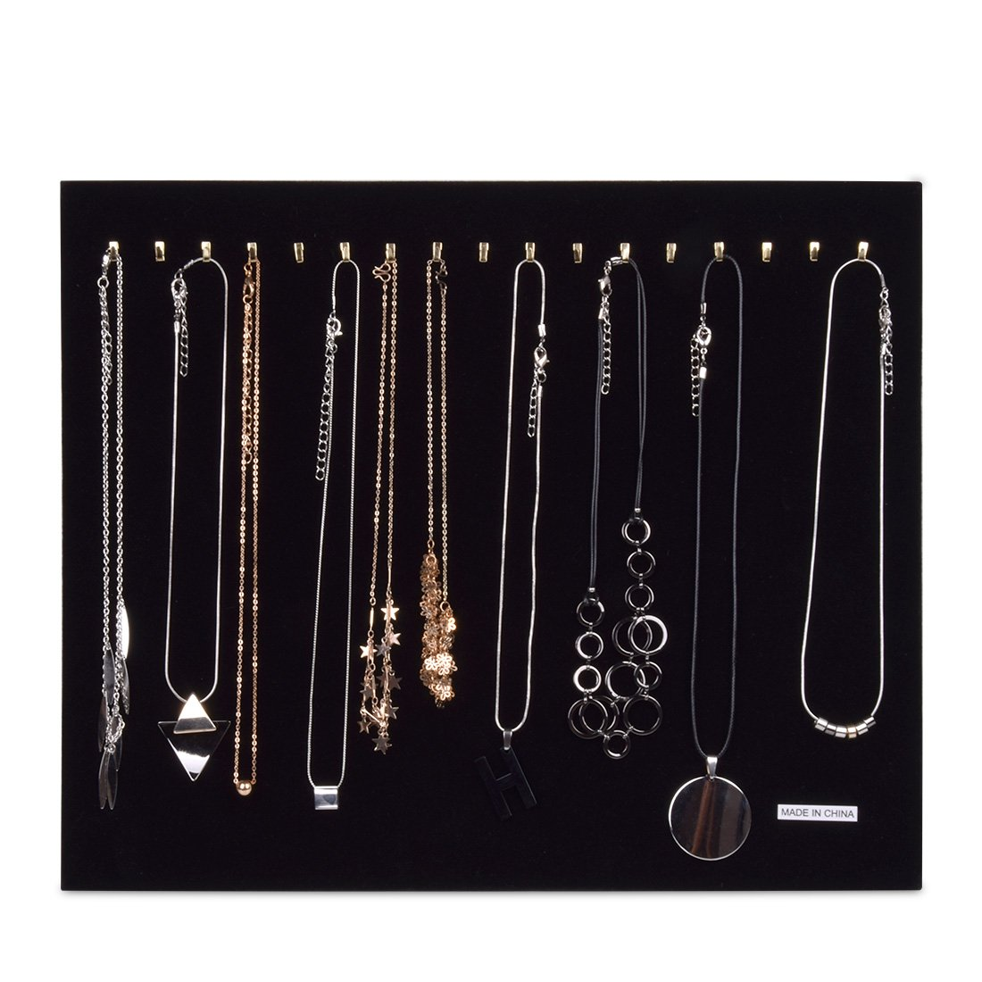 Hotusi Black Velvet Necklace Bracelet Chain Jewelry Display Holder Stand Organizer(Holds up to 17 Necklaces,Necklaces Not Included)
