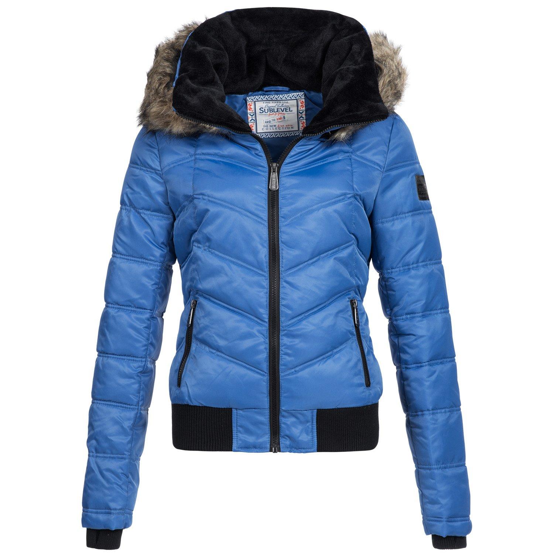 Winterjacke | Wintermantel | Stepp-Jacke für Damen von Sublevel - leichter Kurz-Mantel im schlanken Parka-Stil mit Fellkapuze aus Kunstpelz auch für den Übergang Herbst / Winter