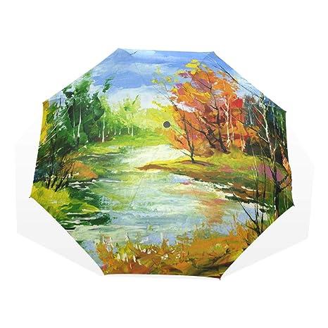 Design With Woods Pattern Windproof Rainproof Automatic Foldable Umbrella,Travel Umbrella Compact Sun//Rain Hot-selling