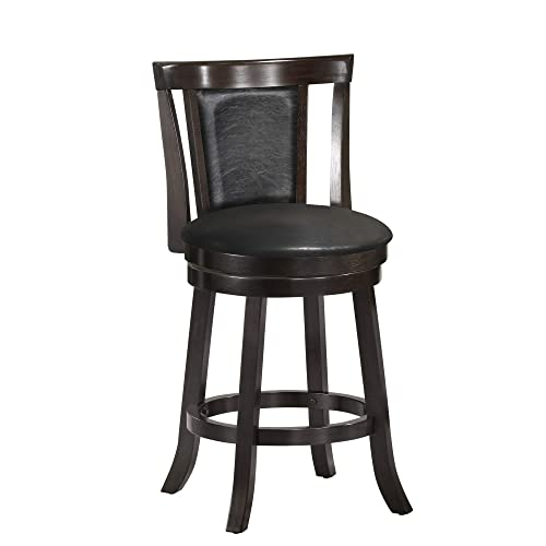 Monarch Specialties I Wood Swivel Barstools, 39 H, Cappucino Black Leather-Look