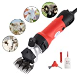 SUNCOO Sheep Shears Portable Animals Electric Clippers for Goats, Alpaca, Llamas, Horse and Other Fur Livestock Support Heavy Duty Shearing Work 350 Watts (Red) (Color: RED)