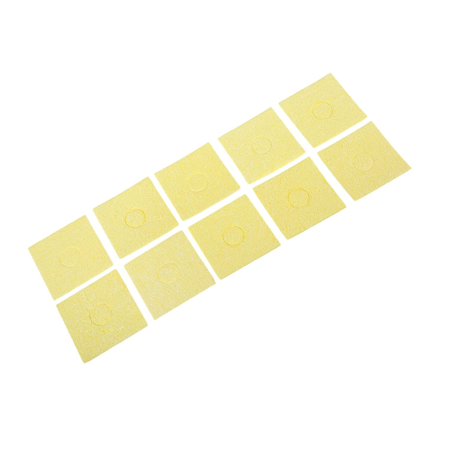 10pcs 2.17x2.17x0.08 High Temperature Enduring Condense Electric Welding Soldering Iron Cleaning Sponge Yellow Hicello