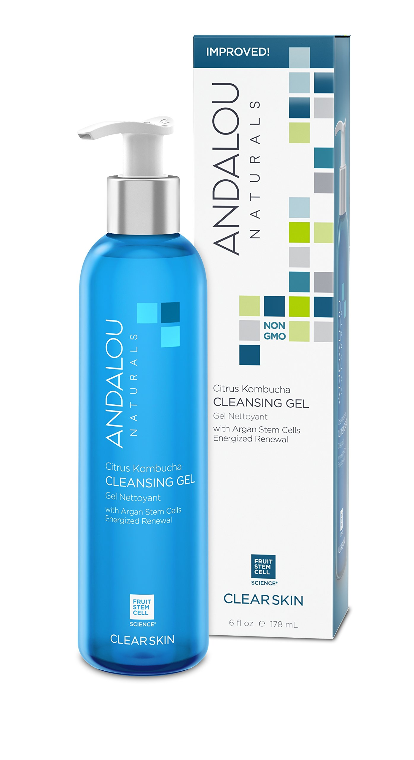 Andalou Naturals Citrus Kombucha Cleansing Gel, 6 oz, For Oily or Overreactive Skin, Helps Clarify & Cleanse Pores for a Glowing Complexion