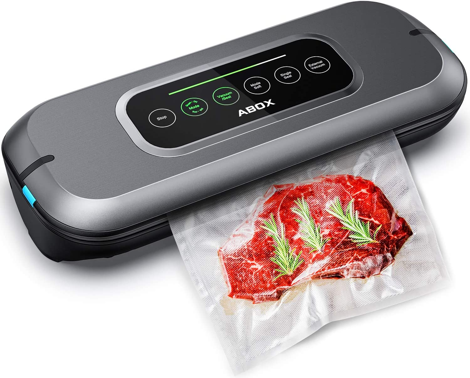 ABOX Vacuum Sealer Machine, Full Automatic Food Saver Machine V66 for Food Preservation, with Built-in Cutter and 10 Bags