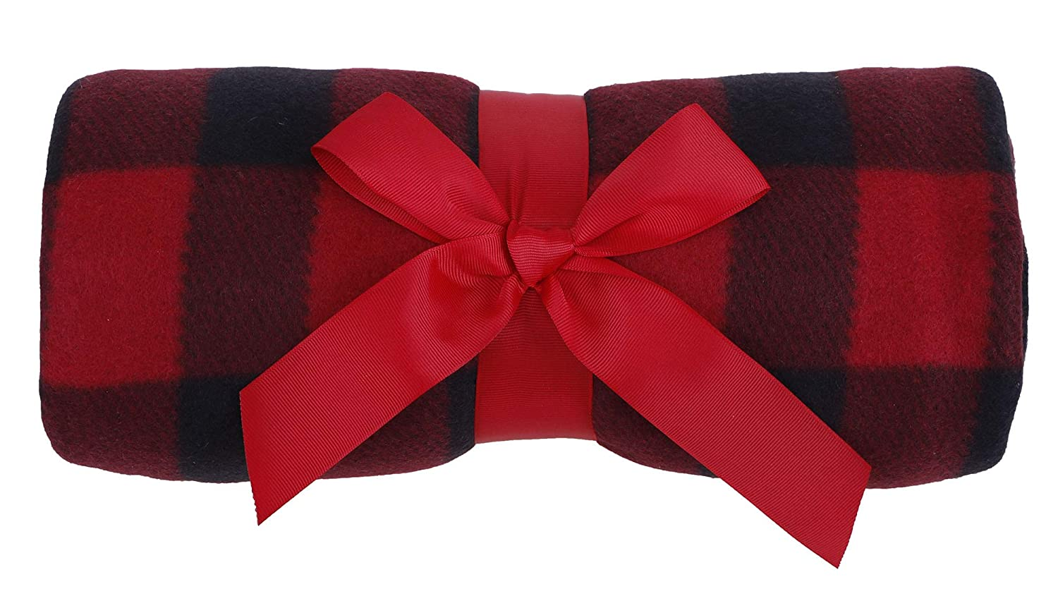 Simplicity Winter Warm Red and Black Buffalo Plaid Patterned Decorative Super Soft Twin Woven Fleece Couch Throw Blanket