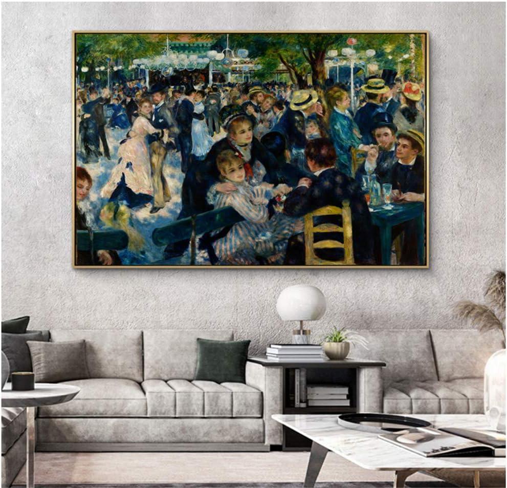 yhyxll Renoir-DanceLienzos Pinturas Impresionista Famoso Arte de la Pared Carteles e Impresiones Cuadros de la Pared Impresión en lienzo-60x90cm Sin Marco