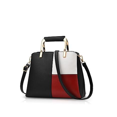 5a02975455 NICOLE DORIS Women Color Simple Handbags Shoulder Bag Crossbody Messenger  Bag Tote Satchel for Lady PU Leather Black  Amazon.co.uk  Luggage