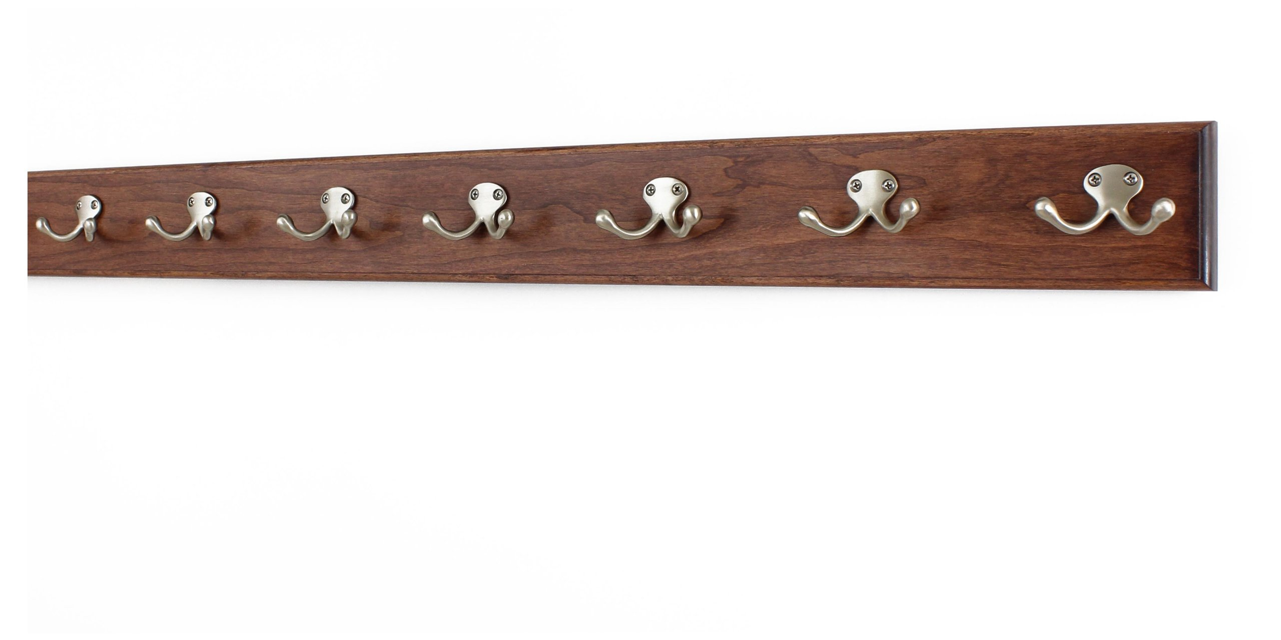 Solid Cherry Wall Mounted Coat Rack with Satin Nickel Double Style Coat Hooks - Made in the USA (Mahogany, 36'' x 3.5'' with 7 hooks)