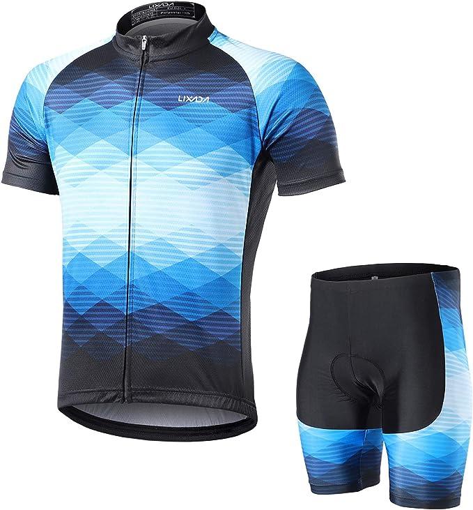 Herren Trikot Radfahren Radtrikot Fahrradtrikot Radlerhose Kurzarm Blau Grau