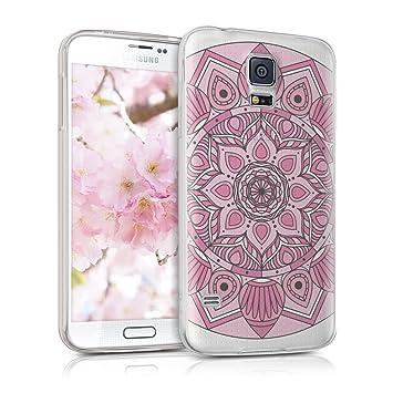kwmobile Funda para Samsung Galaxy S5 / S5 Neo - Carcasa Protectora de [TPU] con diseño caleidoscópico en [Rosa Fucsia/Rosa Claro/Transparente]