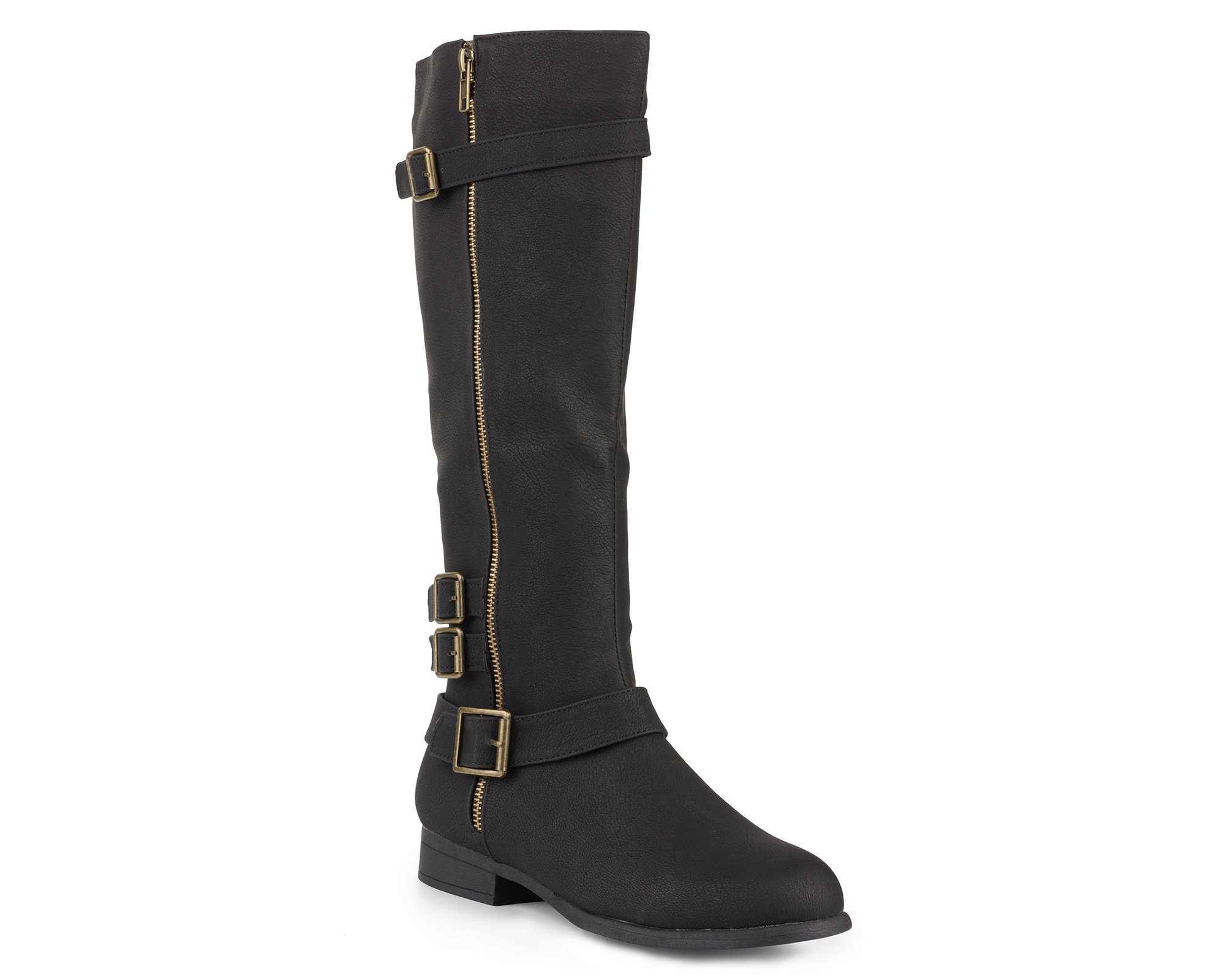 Twisted Women's Noah Knee High Faux Leather Boots with Buckle Straps - NOAH02 Black, Size 9