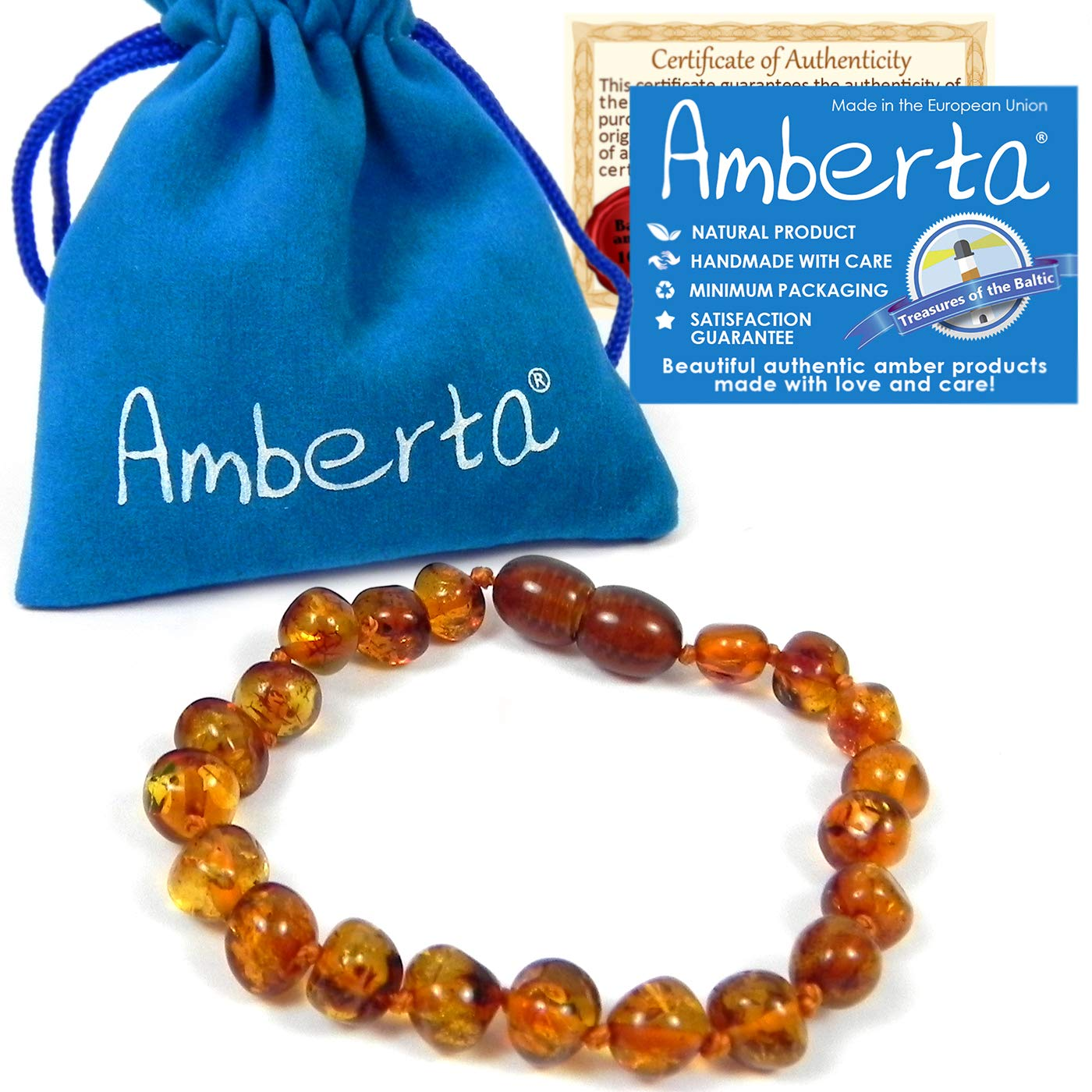 Amber Teething Anklet or Bracelet for Babies Amberta - 5.5 OR 6.3 inch, Anti Inflammatory, Teething Discomfort & Drooling Relief, Natural Soothing Effect - 100% Pure Amber, Handmade by Amberta
