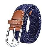 wdoit Fashion Casual trenzado Lienzo Pin hebilla de cinturón elástico cinturón de jóvenes Unisex 105* 3.5cm, lona, azul, 105*3.5CM
