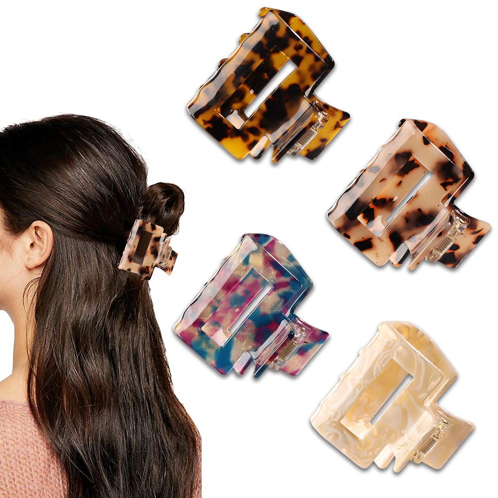 MagicSky 4PCS Hair Claw Clips, Acrylic Hair Banana Barrettes, Celluloid French Butterfly Jaw Clips, Tortoise Shell Grip Pin Teeth Clamp -Leopard print Stylish Hair Accessories for Women Girls : Beauty