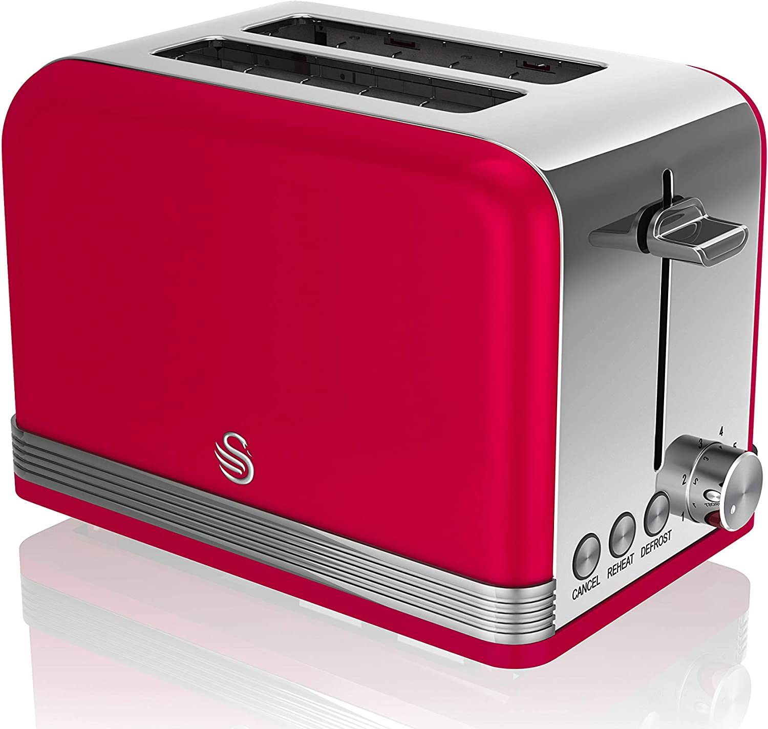 Swan Retro 2 Slice Toaster, Red