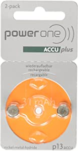 Power One ACCU plus p13 Hearing Aid Rechargeable Battery, Pack of 2
