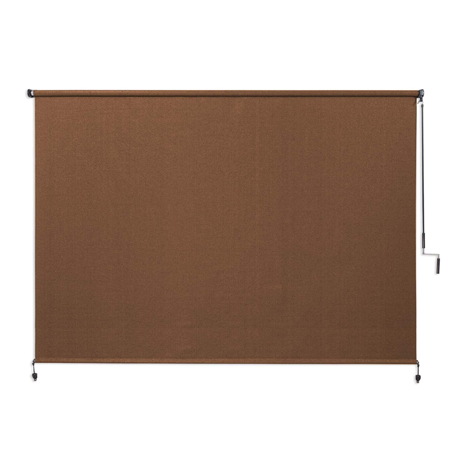 Coolaroo Exterior Roller Shade, Cordless Roller Shade with 90 UV Protection, No Valance, 8 W X 6 L , Mocha