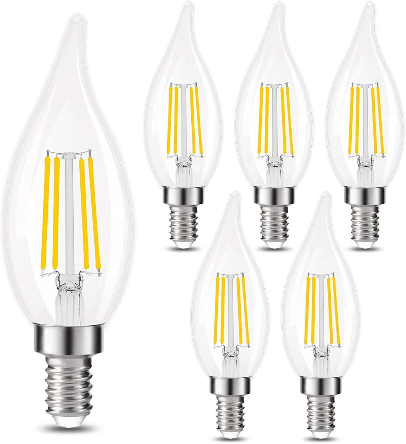 E12 Led Candelabra Bulb Golspark 4w Dimmable Chandelier Light Bulbs 40w Equivalent C35 Vintage Filament Candle Bulb Flame Tip 360 Degrees Beam Angle 400lm Pack Of 6 C35 4000k Daylight
