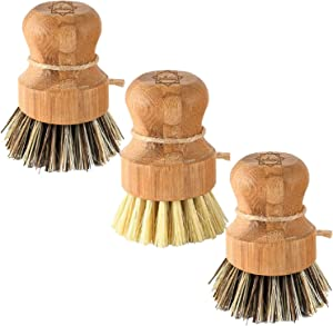 Bamboo Scrub Brush - S&C Kitchen, Cleans Pan/Vegetable/Dishes/Wok, Scrub Brush Dishes for Kitchen/Bathroom, Made Out of Palm & Sisal Bristles with a Handle, Vegetable Brush for Cleaning, Set of 3