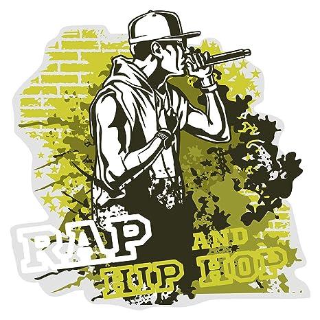 Pegatina de pared Música cuarto de los niños Músicos de rap y hip hop en colores