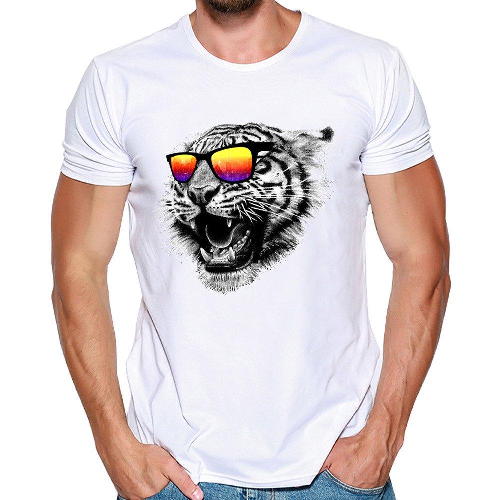 CIELLTE Homme Manche Courte Lion Imprimé T-Shirt Tee Shirts Short Sleeve Blouse Casual Tops Mince Fit Personnalité T-Shirt d'été