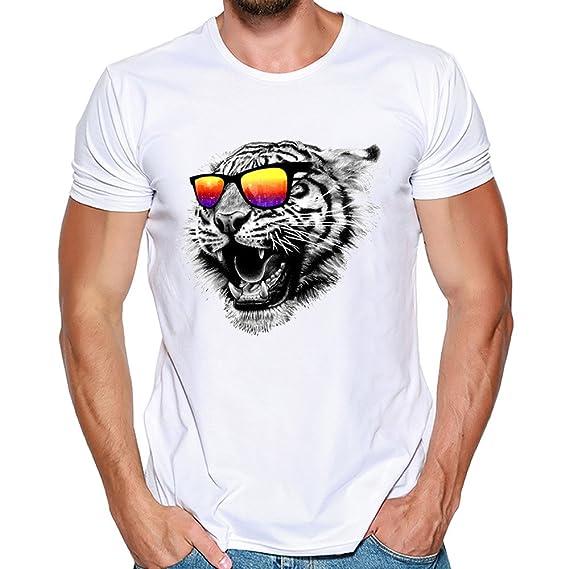 Hombres Que Imprimen Las Camisetas Camisa de Manga Corta Camiseta Blusa Tops por Internet: Amazon.es: Ropa y accesorios