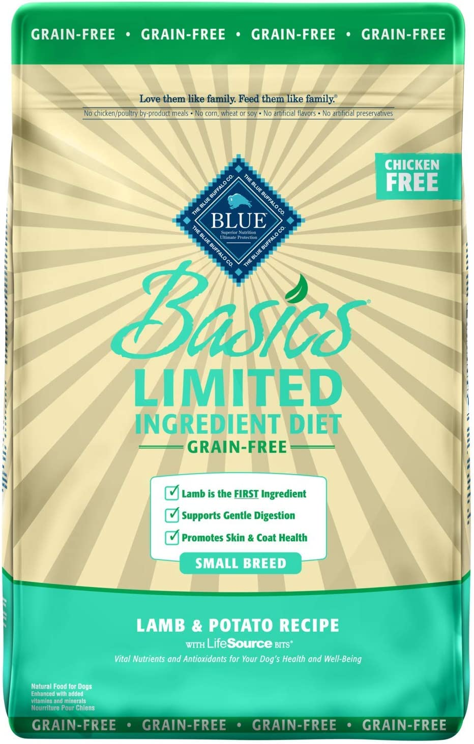 Blue Buffalo Basics Limited Ingredient Diet, Grain Free Natural Adult Small Breed Dry Dog Food, Lamb & Potato 11-lb