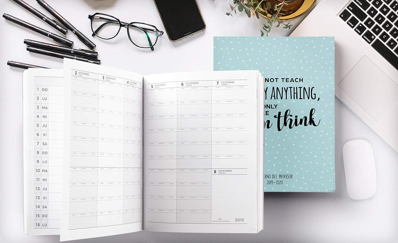 Cuaderno Del Profesor 2019 - 2020: Cuaderno del Profesor y Agenda 2019 - 2020 Práctico Organizador para docentes | Agendas Escolares para Profesores - ...