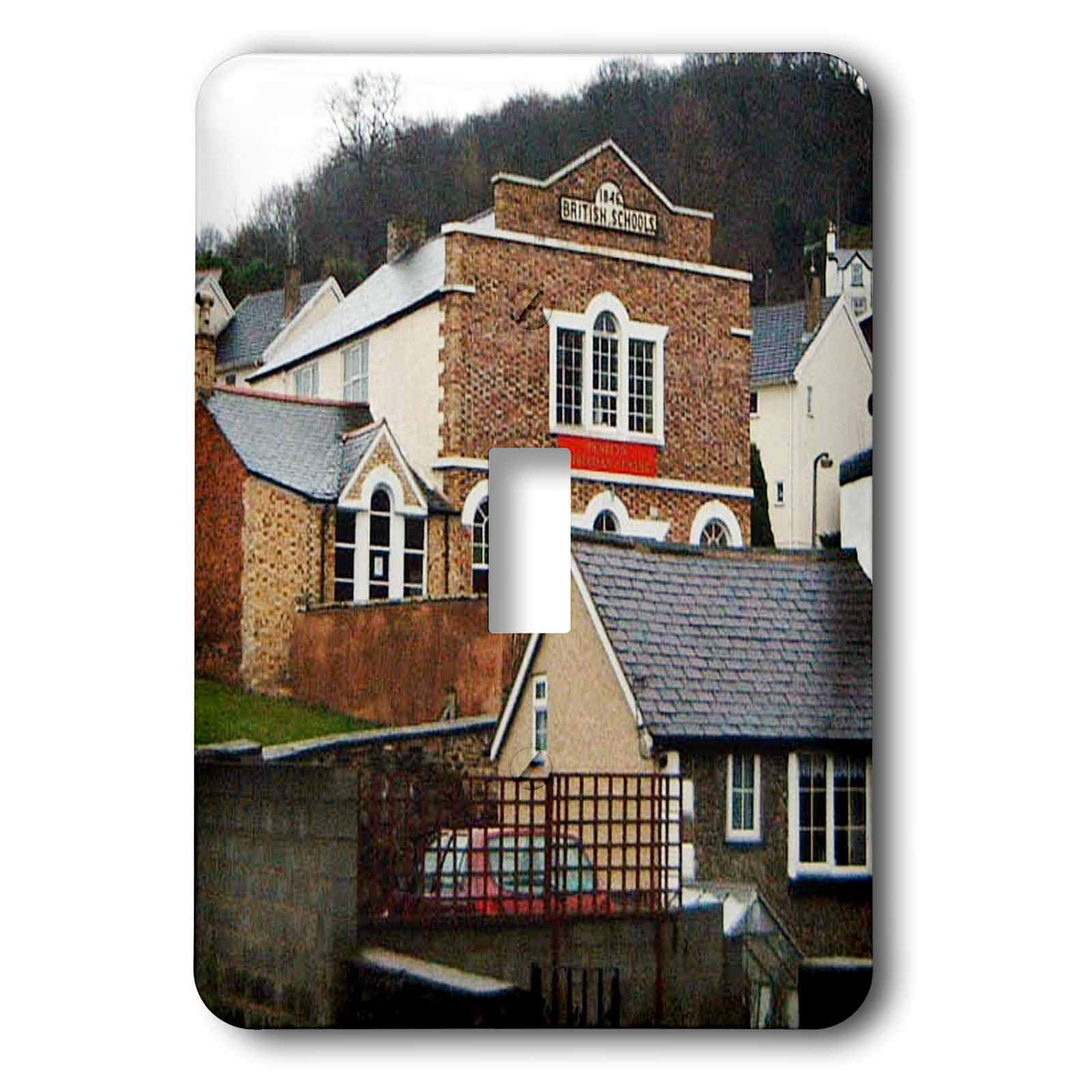 3dRose Jos Fauxtographee- llangollen Wales School Home - Some homes and a Brittish School in Llangollen Wales - Light Switch Covers - single toggle switch (lsp_294500_1)