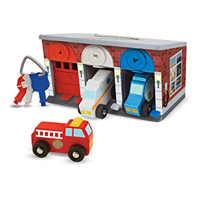 Melissa & Doug Keys & Cars Wooden Rescue Vehicle & Garage Toy (Emergency Vehicles, Color-Coded Keys, Great Gift for Girls and Boys - Best for 3, 4, 5 Year Olds and Up): Toys & Games