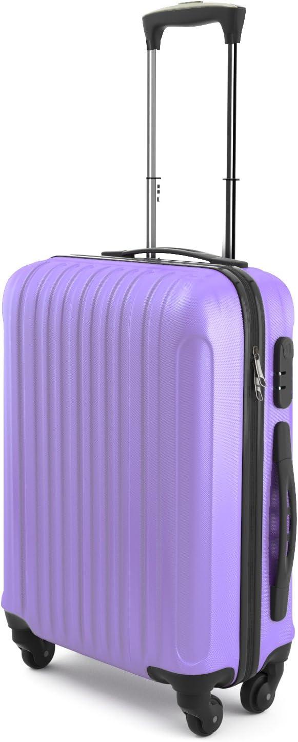Eglemtek ABS Maleta Equipaje de mano cabina rígida ligera con 4 ruedas, 55cm ,trolley cáscara dura ,color púrpura